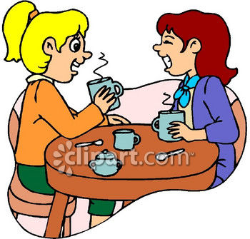 Housewives Spreading Gossip, Having Coffee Clip Art