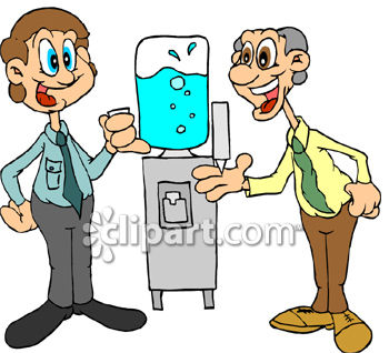 Two Men Gossiping Around the Water Cooler Clip Art
