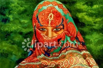 East Indian Woman Wearing a Head Scarf Clip Art