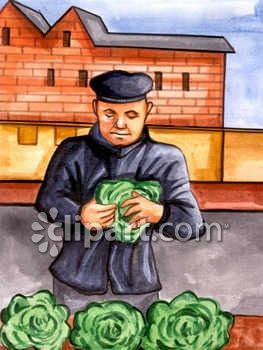 Russian Farmer Selling Cabbage Clip Art