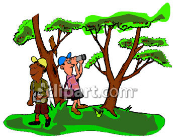 Two Men Bird Watching Clip Art