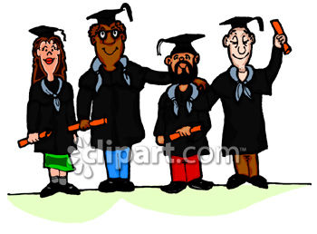 Diverse Group of Adults Graduating from School Clip Art