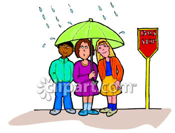 Kids Sharing an Umbrella at a Bus Stop Clip Art