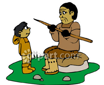 Eskimo Dad Teaching His son To Hunt Clip Art