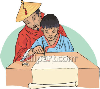 Chinese Man Teaching His Son to Write Clip Art