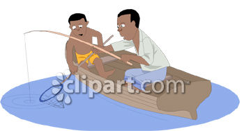 Father and Son Fishing Clip Art