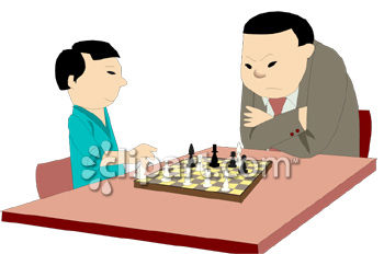 Asian Father Playing Chess with His Son Clipart