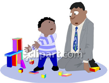 Tired Dad Playing with His Son Clip Art