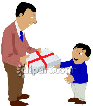 dad giving his son a gift clip art royalty free clipart illustration rh clipartguide com clipart giving hands thanksgiving clipart