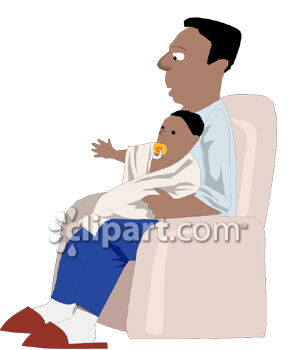 Black Man Holding His Baby Clip Art