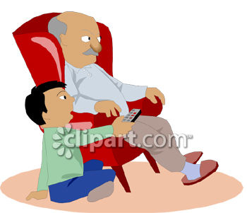 Grandpa Watching TV with His Grandson Clip Art