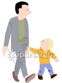 Man Walking with His Son Clip Art