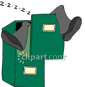 Person Sleeping in a Filing Cabinet Drawer Royalty Free Clipart Image