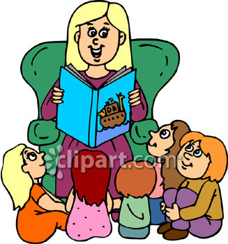 Daycare Woman Reading to a Bunch of Children