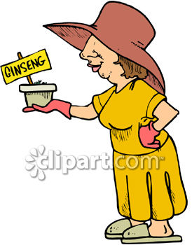 Woman with a Pot of Ginseng Herb