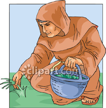 Royalty Free Clipart Image: Monk Picking Herbs