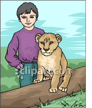 Little Boy and a Baby Lion Cub