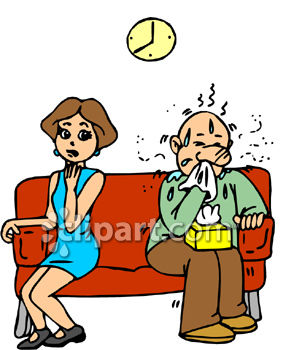 Sick Man Sitting on a Waiting Room Couch with a Girl