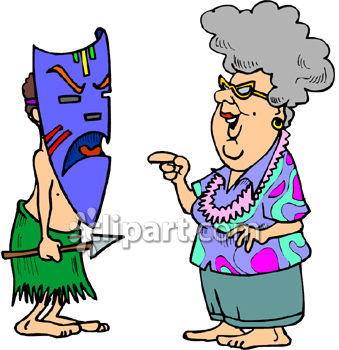 old lady on vacation in hawaii talking to a native holding a spear rh clipartguide com old lady clip art funny little old lady clipart