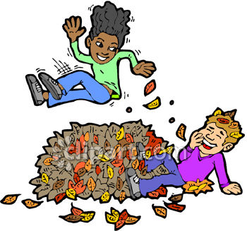 Royalty Free Clip Art Image: Children Playing In A Pile Of Leaves