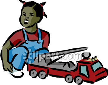 African American Girl Playing With Toy Firetruck