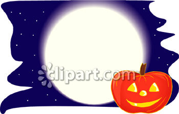 Smiling Jack O Lantern With A Full Moon