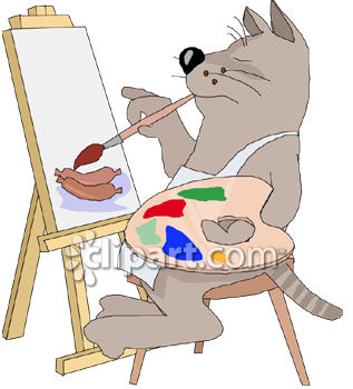 Cat Painting Hot Dogs On A Canvas