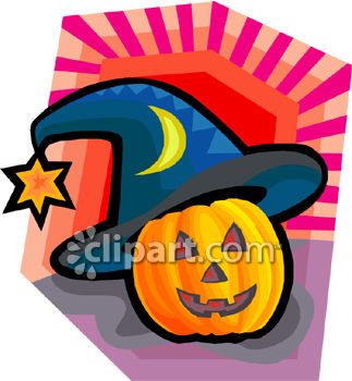 Jack O Lantern Wearing A Witch Hat