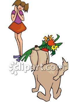 Dog Bringing Flowers To Young Girl