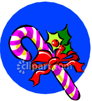 Candy Cane Tied With A Ribbon And Holly