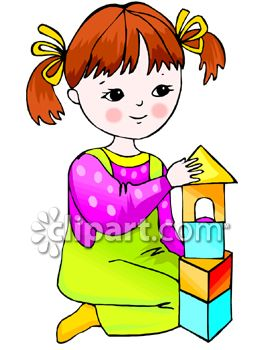 Young Girl Building With Blocks