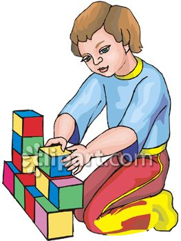 Girl Playing With Colored Building Blocks