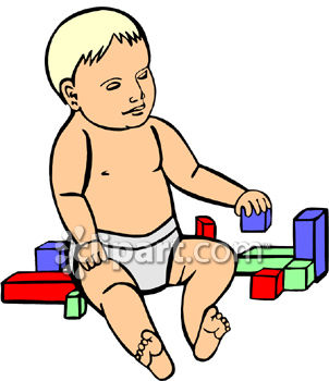 Toddler Playing With Colorful Blocks