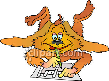 Royalty Free Clip Art Image Dog Doing A Crossword Puzzle