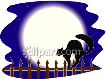 A Black Cat Walking On An Iron Fence In Front Of A Full Moon