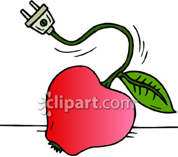Apple With An Electrical Cord For A Stem