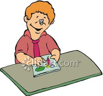 Boy Drawing In A Coloring Book