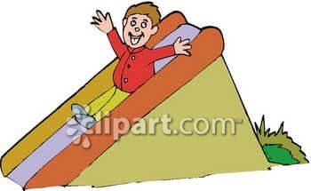 Royalty Free Clipart Image: Young Boy Going Down A Slide