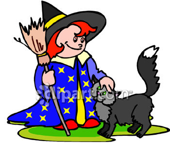 Little Girl In Witch Costume With Cat
