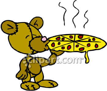 royalty free clip art image a teddy bear eating a pizza rh clipartguide com free clipart pizza man free pizza chef clipart