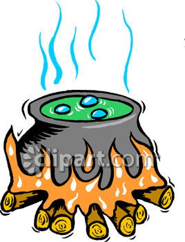 A Bubbling Cauldron Sitting On A Fire