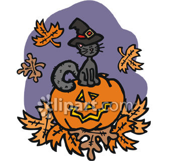 Witch Cat Standing On Jack O Lantern
