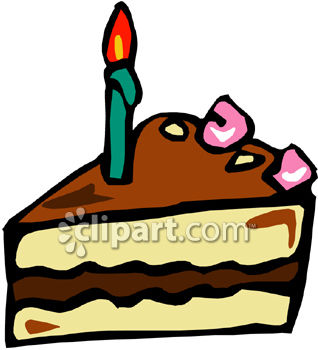 Slice Of Double Layer Birthday Cake - Royalty Free Clip Art Image