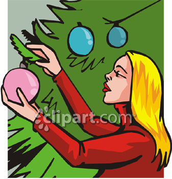 woman decorating tree for christmas royalty free clip art picture
