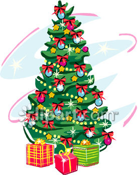 Christmas Tree With Presents Underneath It - Royalty Free Clipart ...