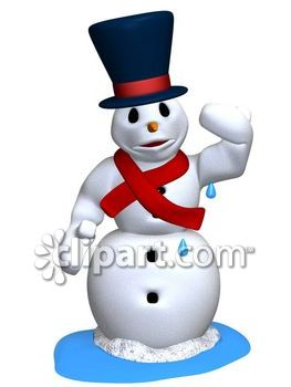 Melting Snowman - Royalty Free Clip Art Image