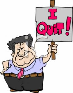 "Angry Businessman Holding Up a ""I QUIT!"" Sign"