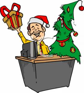 Businessman with Christmas Tree, Present, and Santa Hat