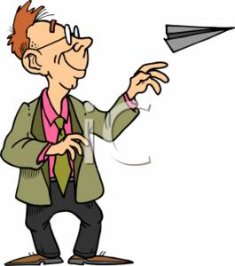Clipart Of A Businessman Throwing A Paper Airplane