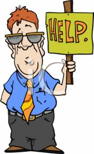 Clipart of a Businessman Holding a Help Sign